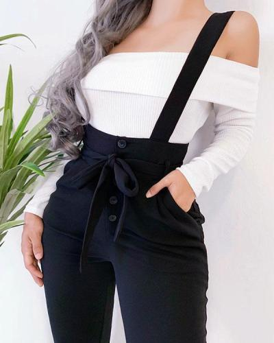 Fashion Lace-up Waistbelt Suspender Pants Jumpsuit