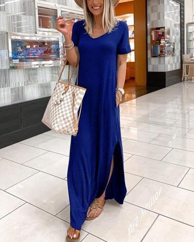 V-neck Casual Dress With Pocket