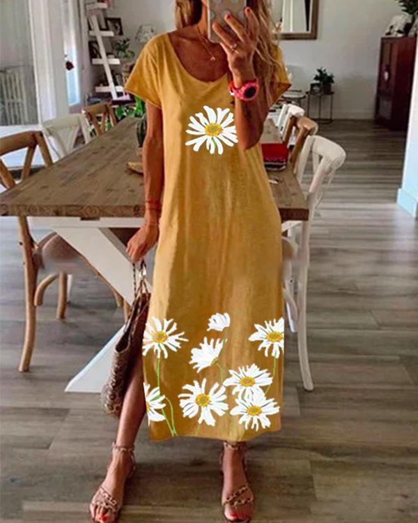Floral Printed Summer Maxi Dress Crew Neck Women Dresses