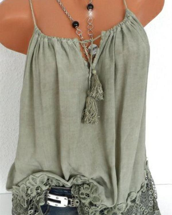 Lace Stitching Solid Color Sleeveless Strap Vest Tops