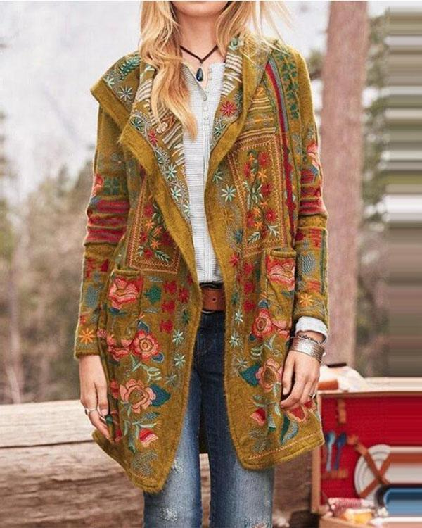 Floral Print Long Sleeves Casual Coat