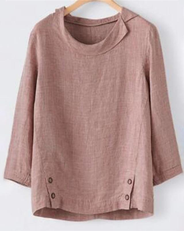 Plus Size Linen Solid Fall Daily Shift Women Blouse