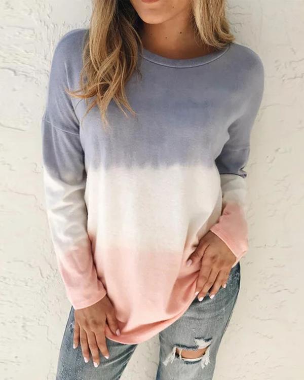 Plus size Ombre/tie-Dye Cotton Casual Shirts & Tops