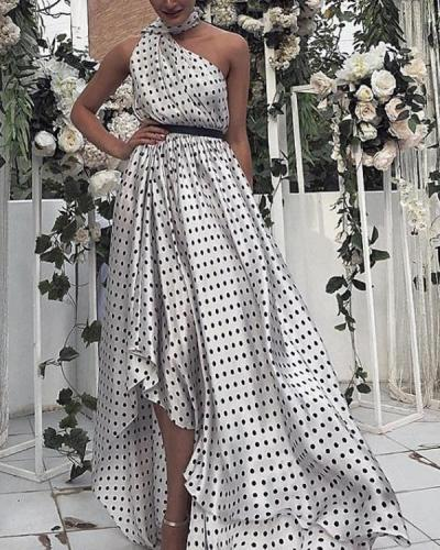 Polka Dot Maxi Dresses White One Shoulder Sash Sleeveless Irregular Hem Party Dress
