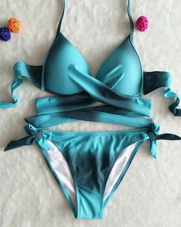 Sexy Gradient Cross Bikini