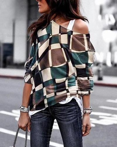 Plus Size Long Sleeve Vintage Geometric Cotton T-Shirts Tops