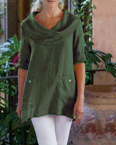 Pocket Solid Long Sleeve Cowl Neck Plus Size Blouses Tops