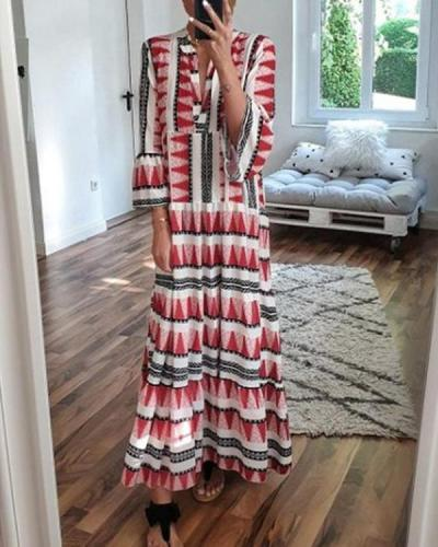 Women Bohemian Long Sleeve Printed Maxi Dresses