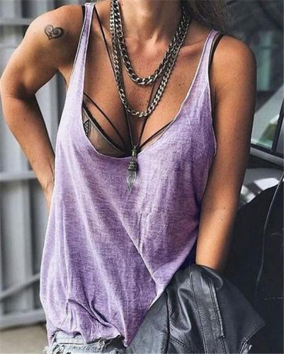 Plus Size Sexy Sleeveless Daily Shift Holiday Casual Tops