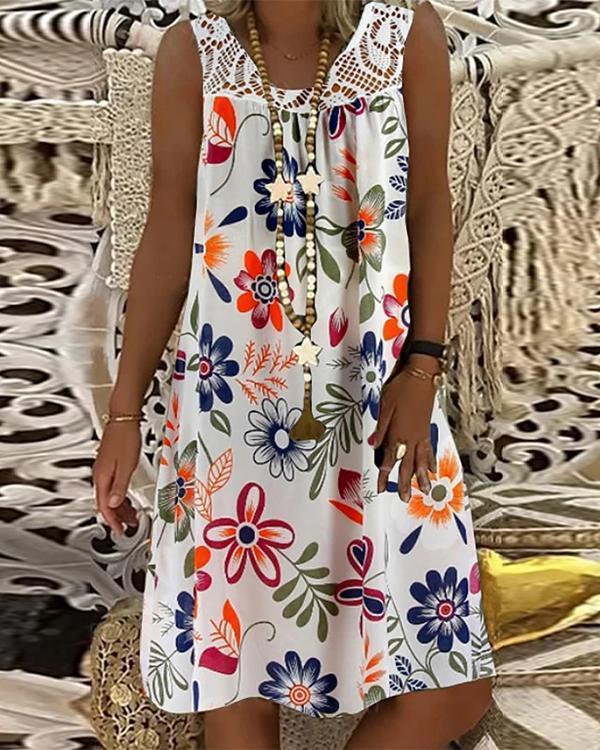 Women's Plus Size Shift Dress Knee Length Floral Dress