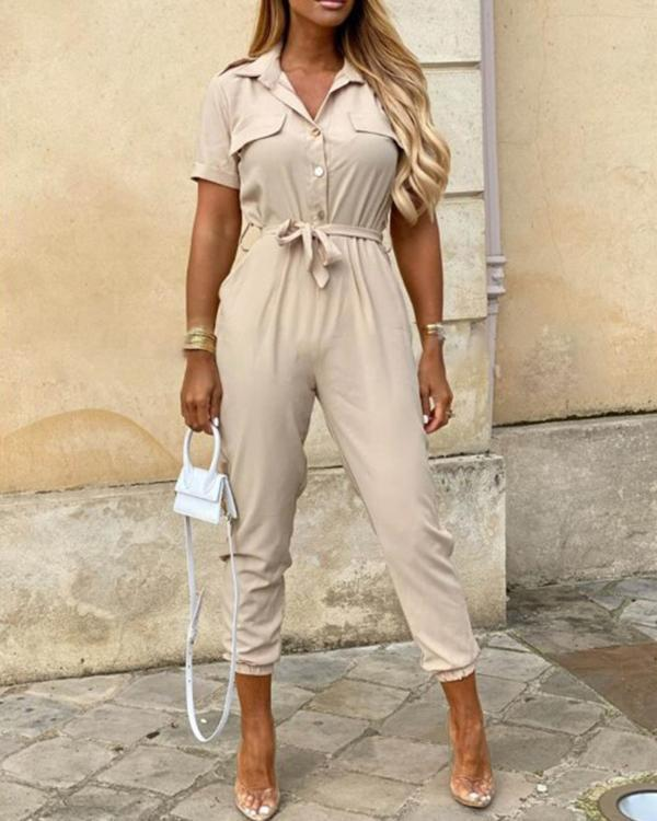 Women Short Sleeve Bottoned Jumpsuit