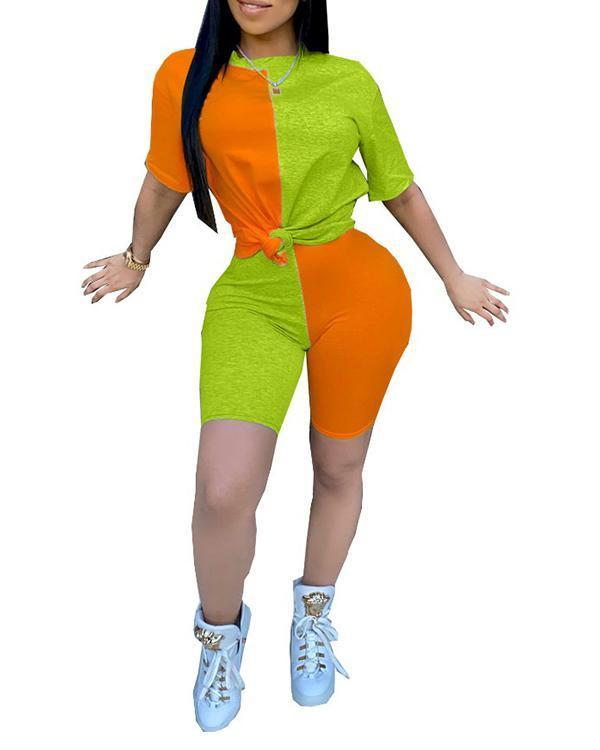 Casual Color Contrast Tracksuit Top & Shorts Set