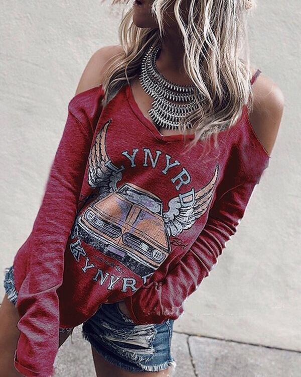 Casual Printed Strap V-Neck T-Shirt