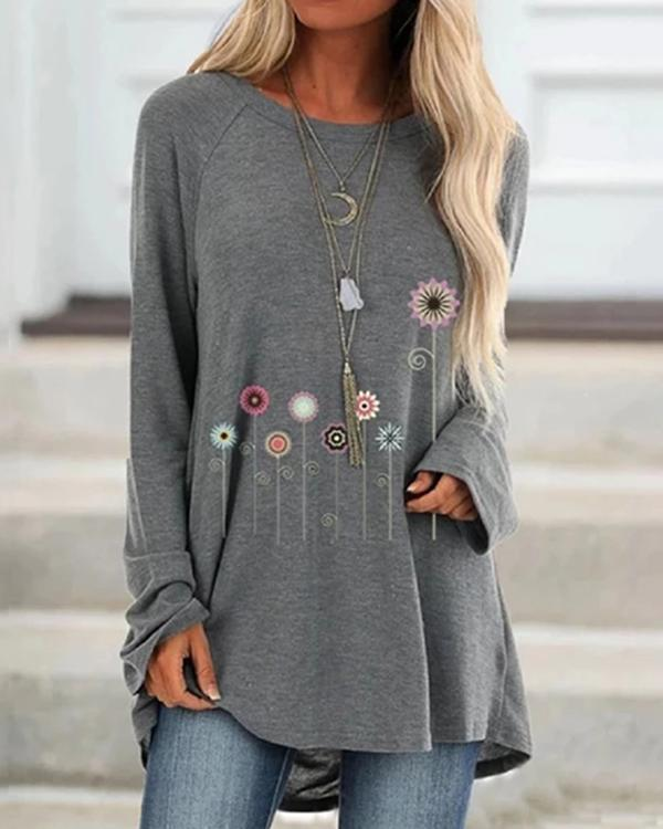 Plus Size Round-Neck Printed Blouses