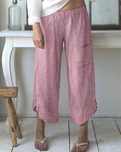 Pockets Casual Loose Wide Leg Pants For Women