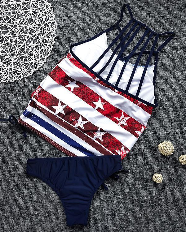 US Flag Star Stripe Print Sexy Split Bikini
