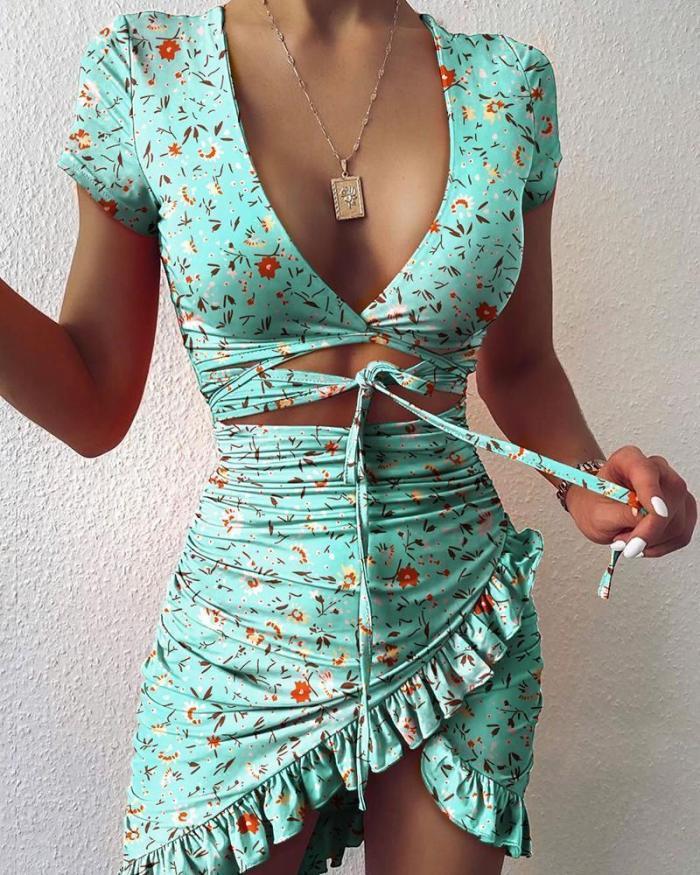 Chain Print Cutout Ruffles Ruched Dress