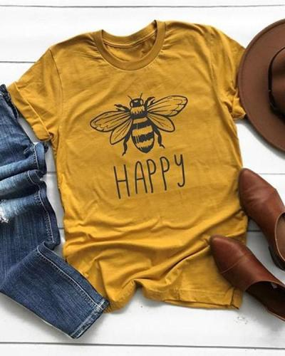 Plus Size Women Summer Tee Shirt Cotton Round Neck Bee Print T-shirts