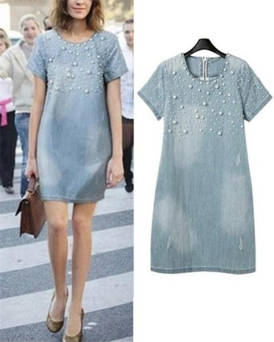 Plus Size Pearl Crew Neck Denim Skirt Mini Dress