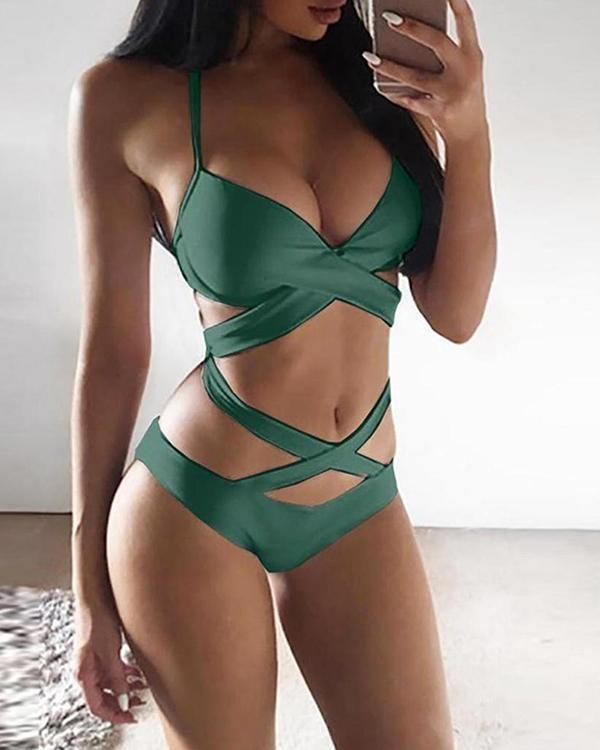 Sexy Colorblock Bikini Women's Split Swimsuit