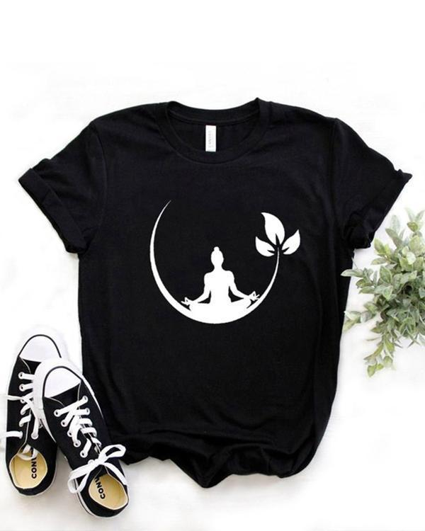 Plus Size Women Summer Tee Shirt Cotton Round Neck Print T-shirts