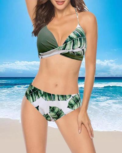 Print Patchwork Swimwear Women Bikini Set