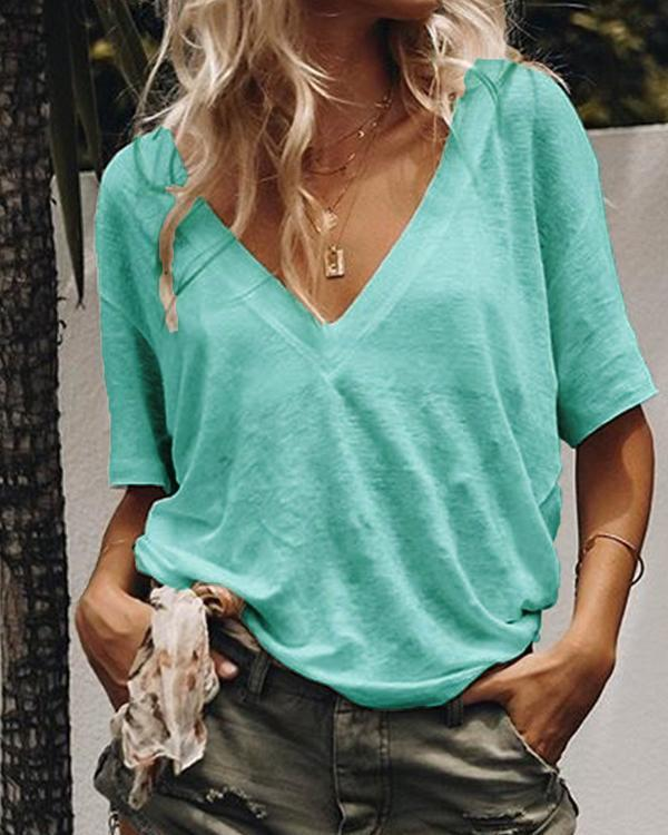 Plus Size Summer V-Neck Short-Sleeved Solid Color Casual T-Shirts Tops