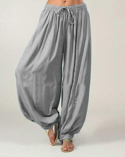 Plus Size Solid Color Loose Elastic Band Wide Leg Pants