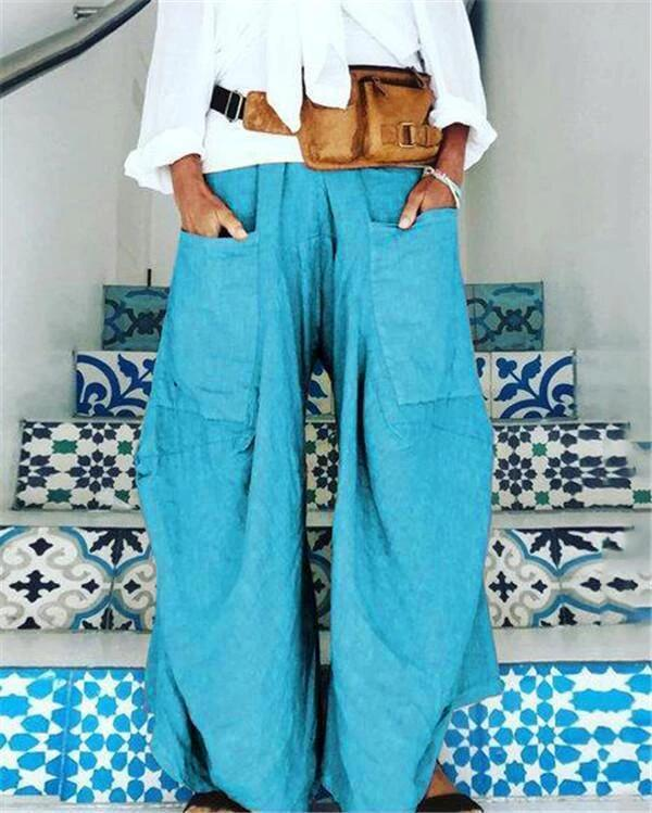 Pockets Loose Solid Casual Pants