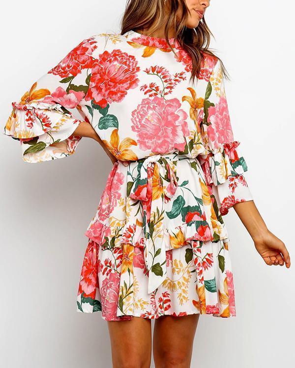 Flounce Lace-Up Floral Print Mini Dress