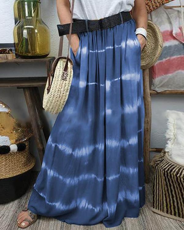 Color Block Maxi Casual Pockets Skirts