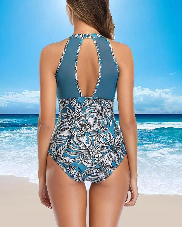 Lace Pleated One-piece Swimsuit