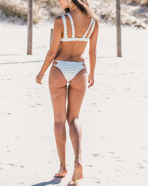 Striped Grid Print bikini