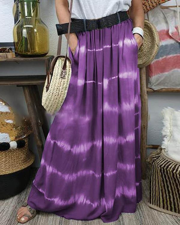 Color Block Maxi Casual Pockets Skirts
