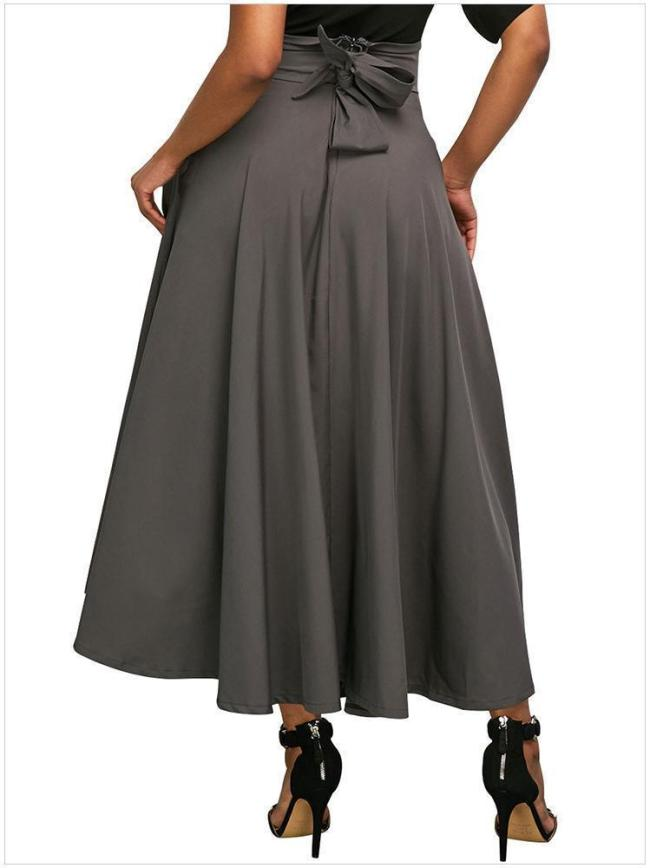 Women Elegant High Waist Pleated Back Zip Straps Skirts
