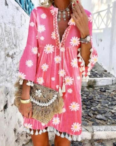 Women Boho Holiday Floral Tassel Sweet V Neck A-lined Mini Summer Dresses