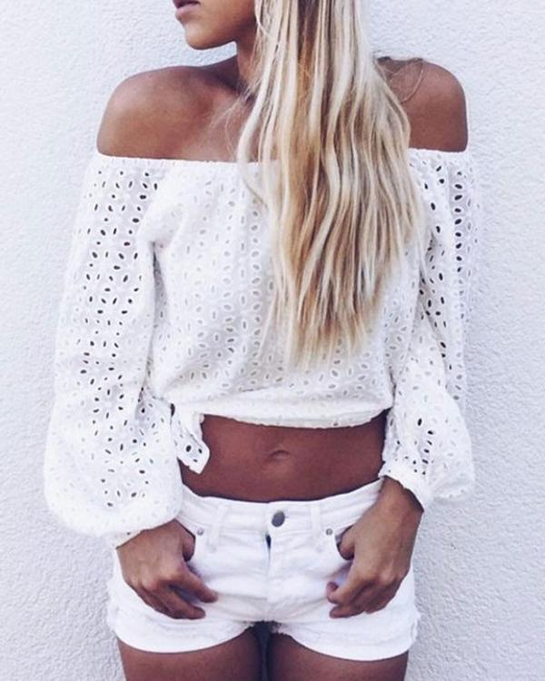Off Shoulder Lace Insert Hollow Out Slit Casual Blouse