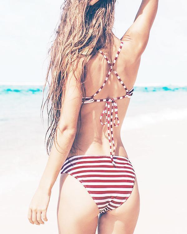 Sexy Striped Lace Up Bikini