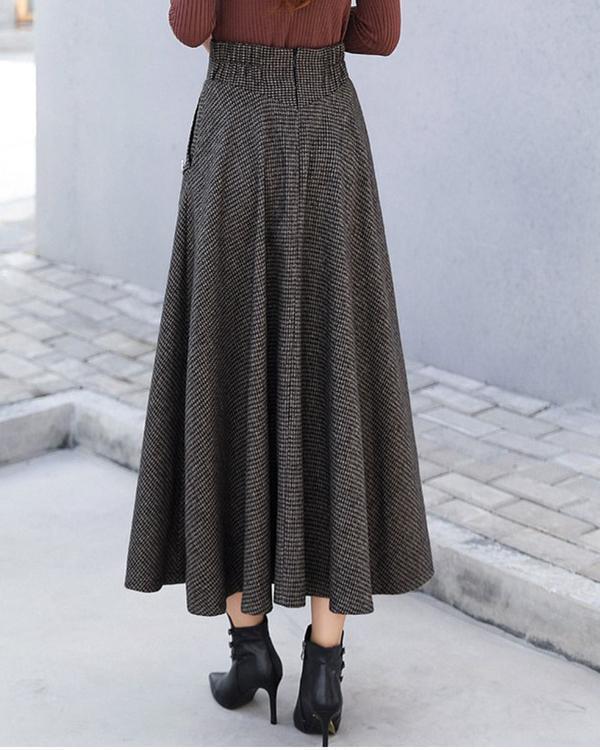 Women Woolen Elegant High Waist Plaid Skirts