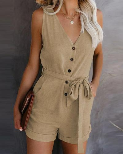 Casual V-neck Button Belt Sleeveless Rompers
