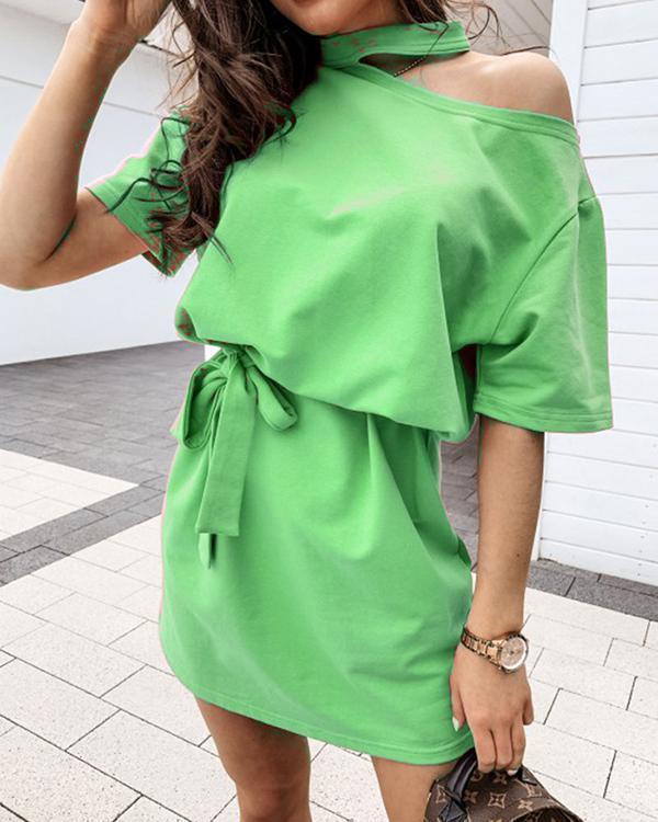Lace-up Cutout Design Black Mini Dress
