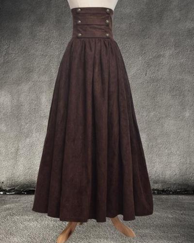 Fashion Vintage High Waist Maxi Swing Skirt