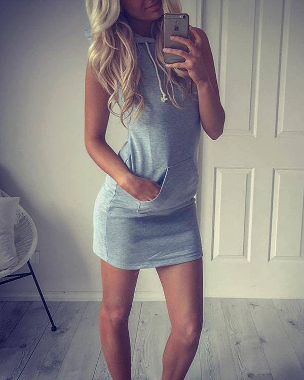 Solid/Striped Slim Hooded Sweatshirt Mini Dress