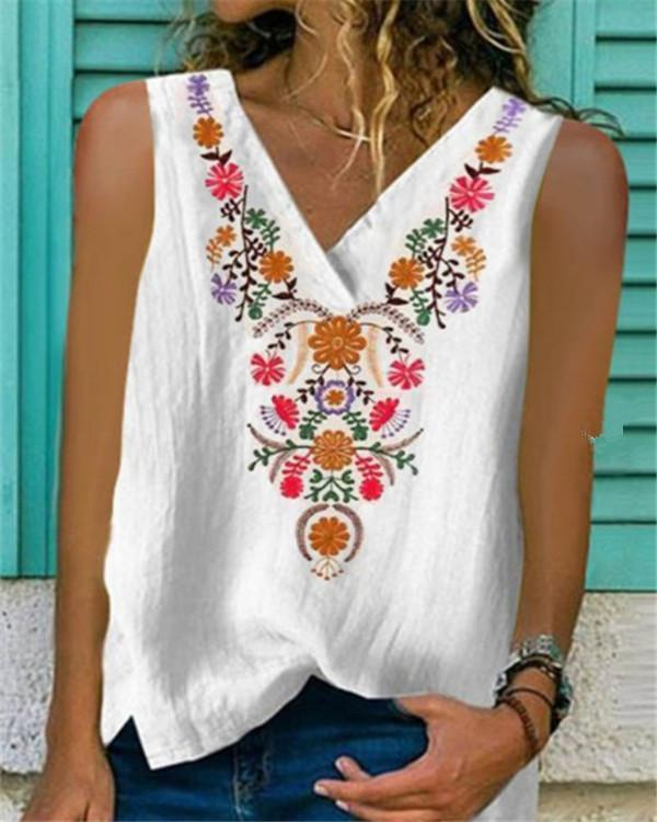 Printed Sleeveless Round Neck Casual Shirts