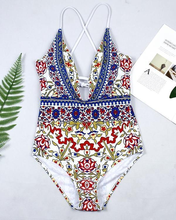 Printed Straps One Piece Swimsuit
