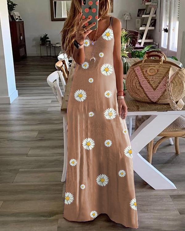 Sleeveless Floral Print V Neck Holiday Maxi Dress