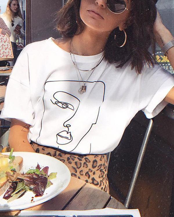 Funny Face Print Casual T-shirt