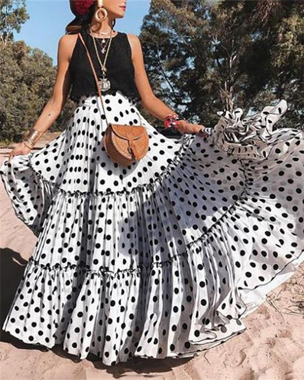 Polyester Polka Dot Floor-Length Pleated Skirts Flared Skirts A-Line Skirts