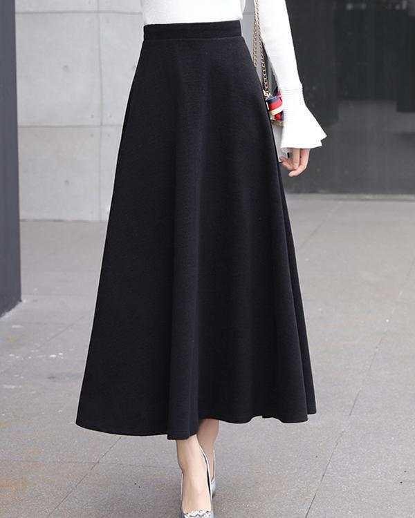 Women Woolen Elegant High Waist Solid Skirts