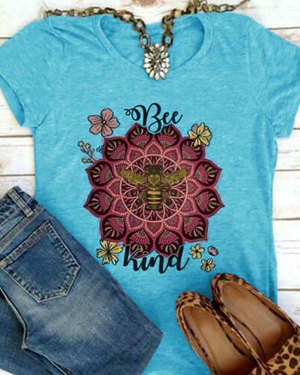 Women Short Sleeves Round Collar Top Bee Printed T-shirt